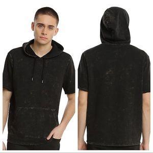 Hot Topic XXX RUDE Black Bleach Wash Hoodie EUC